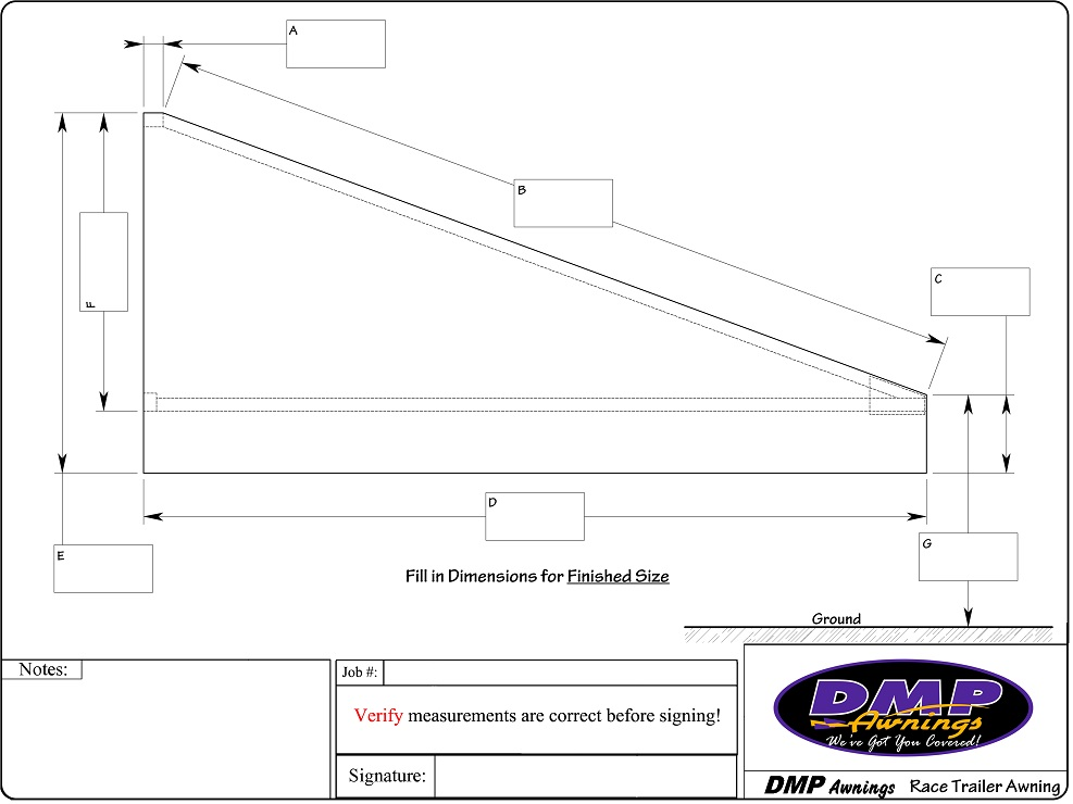 DMP Awnings Race Trailer End Cap Spec Sheet